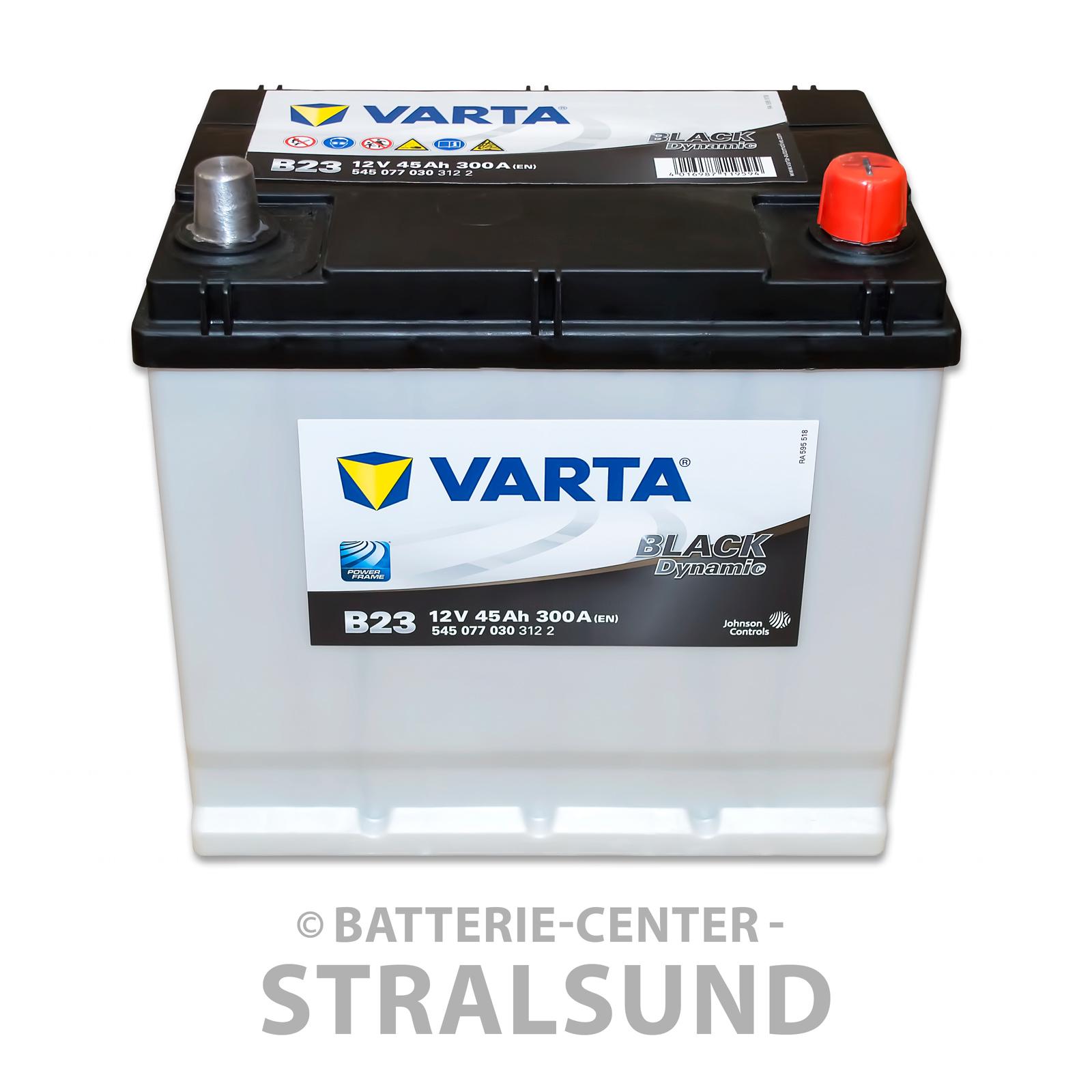 batterie kfz 12 v 45 ah 300 a en varta pkw b23 autobatterie black dynamic. Black Bedroom Furniture Sets. Home Design Ideas